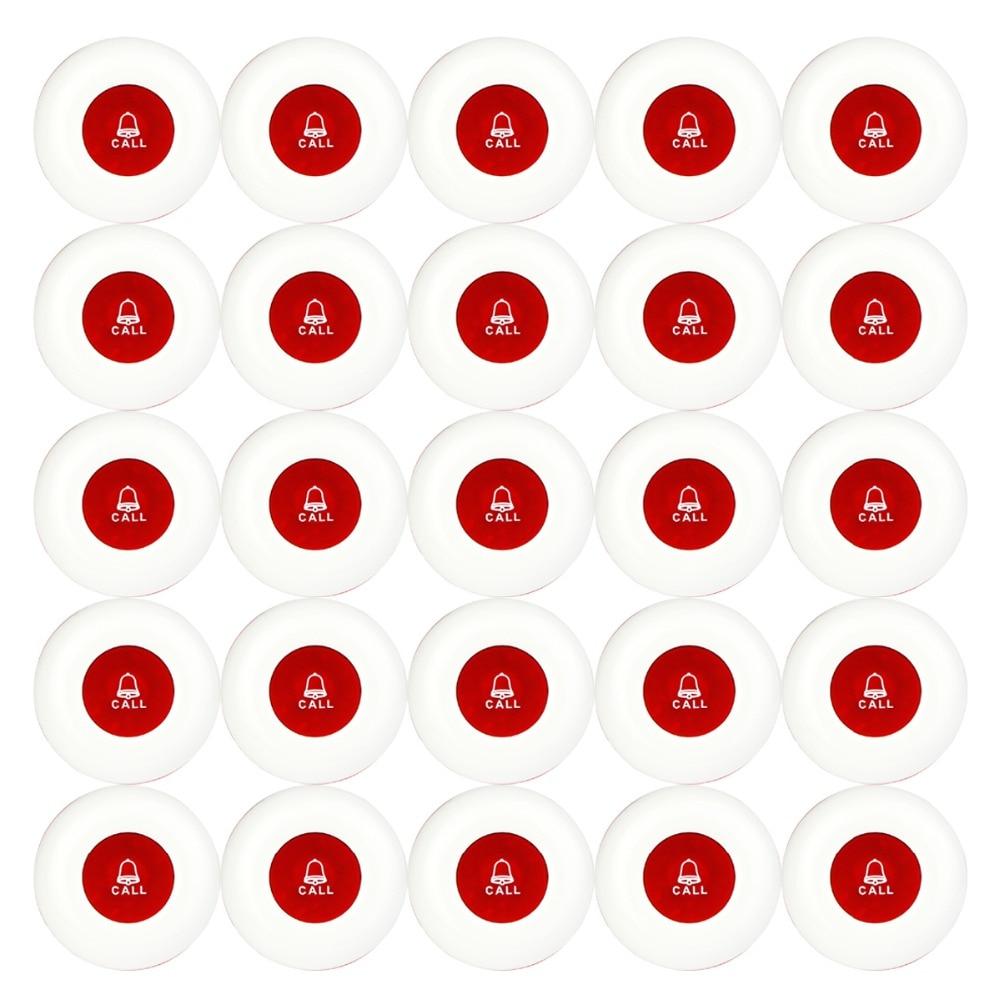 25 個ワイヤレスコール送信ボタンオフィスクラブウェイター通話ページャ防水 433MHz ページャボタンレストラン機器 F3250  グループ上の パソコン & オフィス からの ポケベル の中 1