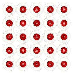 25 piezas inalámbrico transmisor Button Oficina Club camarero llamada Pager impermeable 433 Mhz botón Pager restaurantes equipo F3250