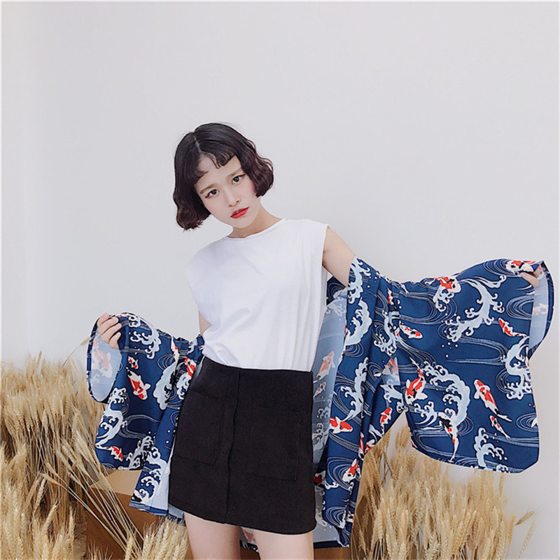 Japanese style 2018 feather weaving East Ying Fenghai kimono summer blouse female sun protection batwing sleeve clothes women