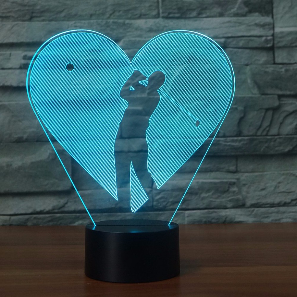 3D Interesting Love Play Golf Heart Molding LED Table Lamp USB Night Light 7 Colors Changing Bedroom Home Decor Sports Gifts
