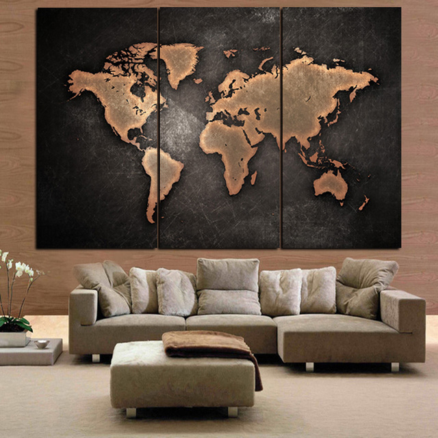 3panel prints large vintage world map abstract oil painting on 3panel prints large vintage world map abstract oil painting on canvas art sofa modular wall picture gumiabroncs Images