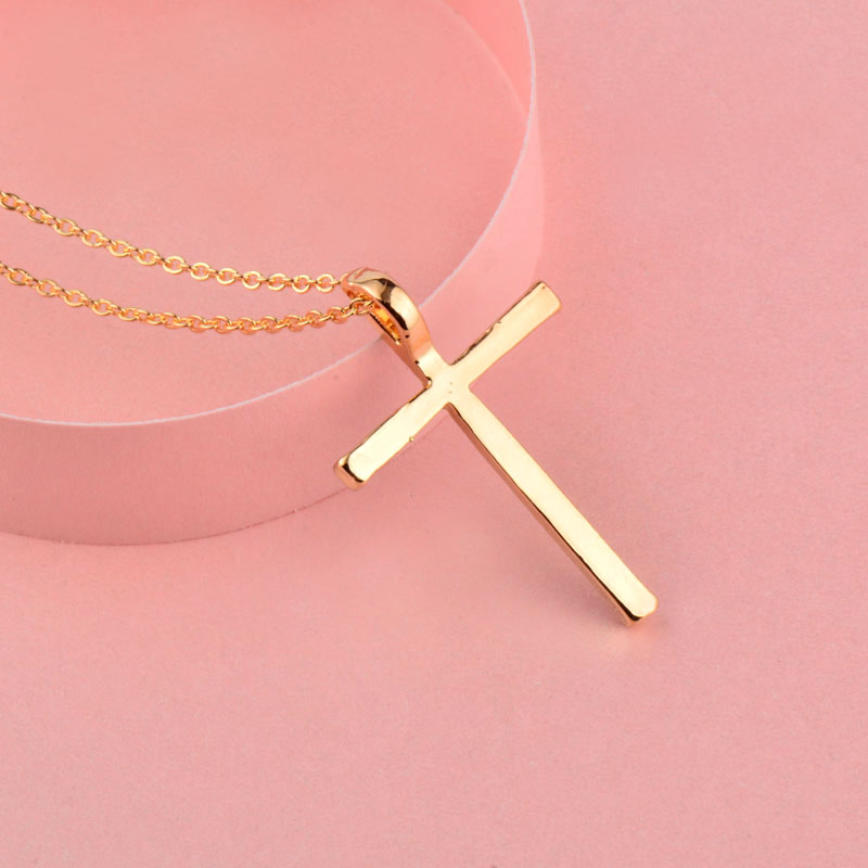 Silver Color Rhinestone Cross Pendant Necklace