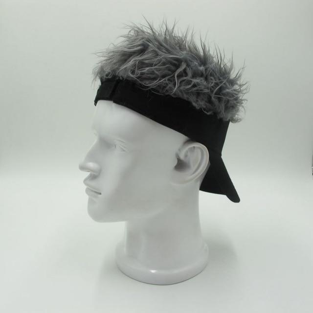 Hot New Novelty Tennis cap Fake Flair Hair Sun Visor Hats Men Women Toupee  Wig Funny 1a5170968c6