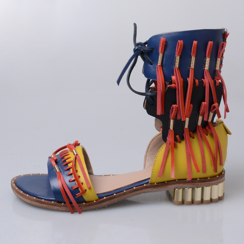 Sandale rot Neue Sandalen Lace Mabaiwan Wohnungen Gesäumten Sommer Frauen Frau Casual Leder Blau Up Echtem Schuhe Blau Feminino Gladiator 6wAASq4UWf