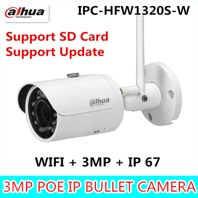 Dahua Original version IPC-HFW1320S-W 3MP bullet wireless IR 30M IP67 built-in SD Card slot outdoor wifi camera