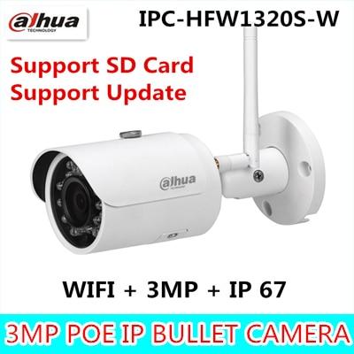 Dahua Original version IPC-HFW1320S-W 3MP bullet wireless IR 30M IP67 built-in SD Card slot outdoor wifi camera