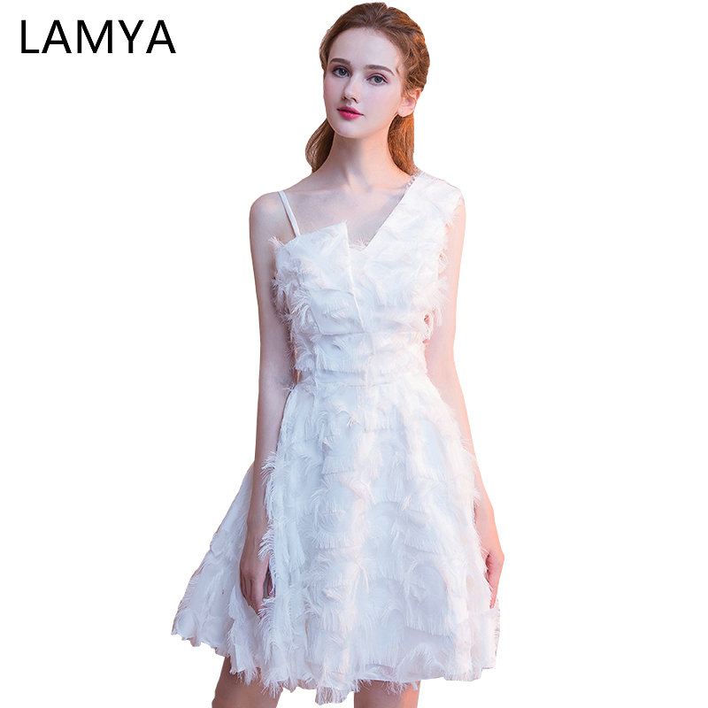 Lamya 2019 Newest One Shoulder   Prom     Dresses   Short A Line Elegant Evening Party   Dress   Scalloped Plus Size Special Occasion Gowns
