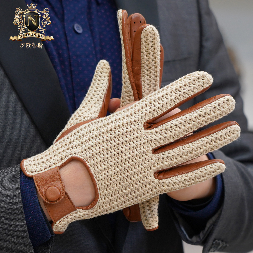 2019 Latest Man Touchscreen Leather Gloves Knitted Leather Autumn Winter Thin Non-Slip Motorcycle Leather Gloves Male M-109
