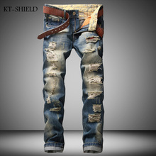 European American Style fashion brand Mens Ripped zipper Jeans Cotton Blue Straight Fit Vintage Distressed Denim Jeans Pants