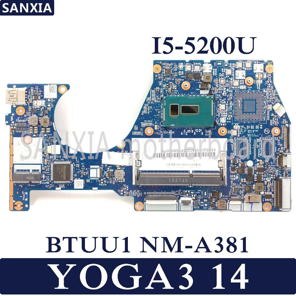 KEFU BTUU1 NM A381 Laptop motherboard for Lenovo YOGA3 14 Test original mainboard I5 5200U