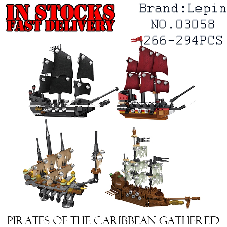 03058 Lepin Pirates of the Caribbean Movie 4 In 1 Slient Mary Black Pearl Queen Anne's Reveage Ship Set Building Blocks Bricks lepin compatible 16009 1151pcs pirates of the caribbean queen anne s reveage model building kit blocks brick toys for kids 4195