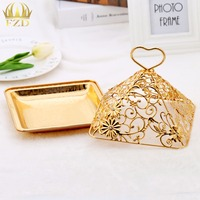 100Pcs Wholasale Metal Fruit Serving Tray Golden Flower Candy Plateparty Plates For Wedding Party Supplies