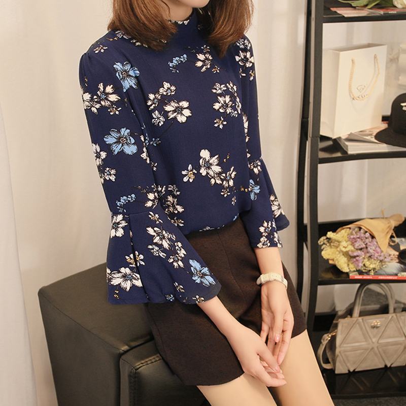 plus size 2018 summer hot Women shirt Casual Fashion half Flare Sleeve vintage Floral Pattern stand neck Chiffon blouses Tops