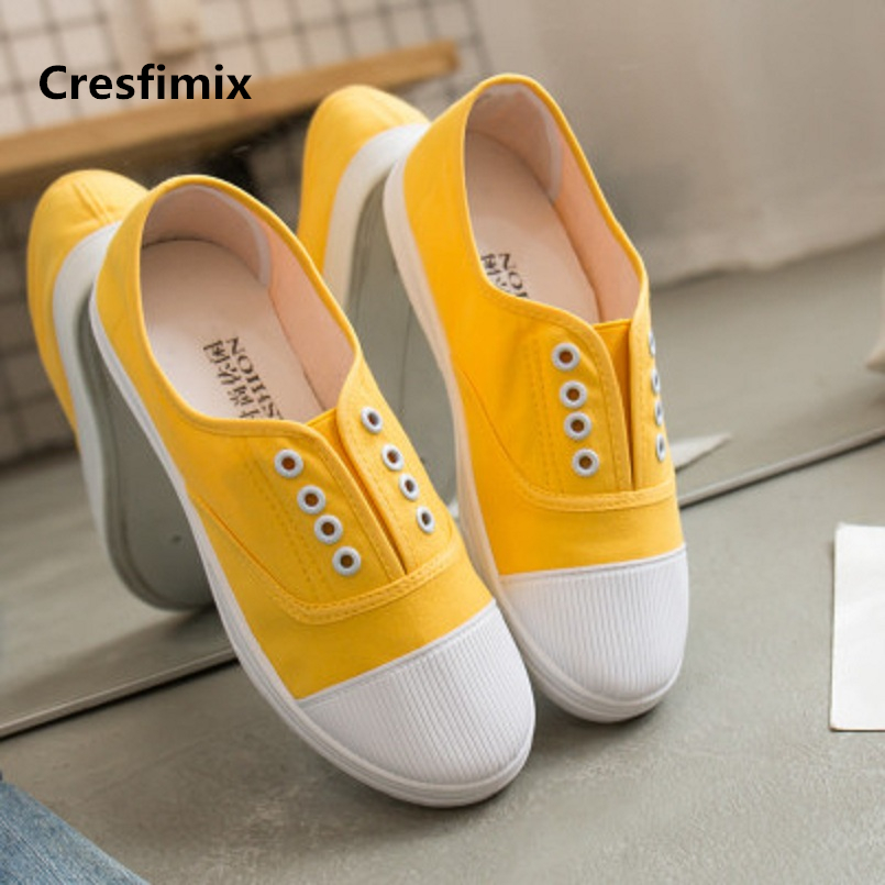 Cresfimix women fashion comfortable flat loafers lady cute spring & summer slip on shoes female round toe casual shoes a2358 new fashion women round toe slip on shoes autumn femme casual canvas shoes cute girl party loafers driving free shipping beige