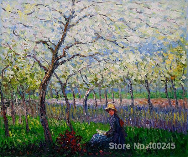 Christmas Gift art on Canvas An Orchard in Spring by Claude Monet Painting High Quality Handmade