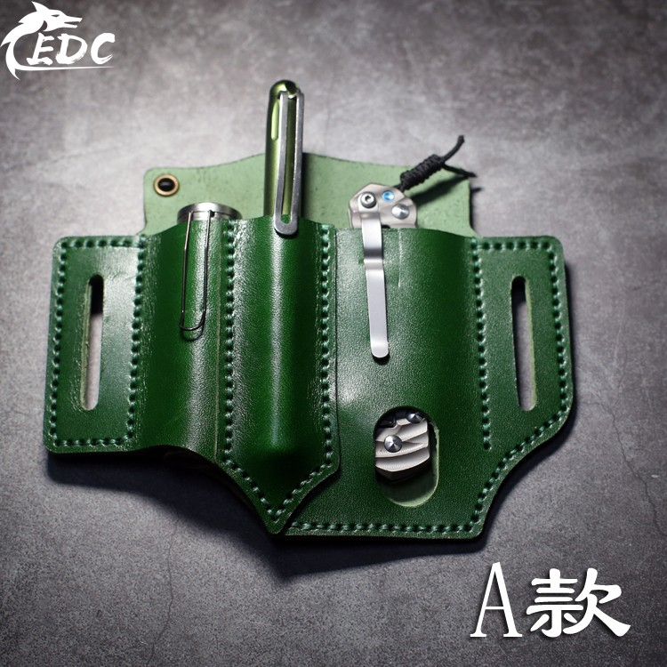 A66 First Layer Cowhide EDC Waist Holster Multi-function Portable Storage Leather Goods Tool Storage
