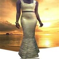 Sexy Fashion Good Quality Gold Foil Print Long Gown XS S M L Wholesale Bandage Dress