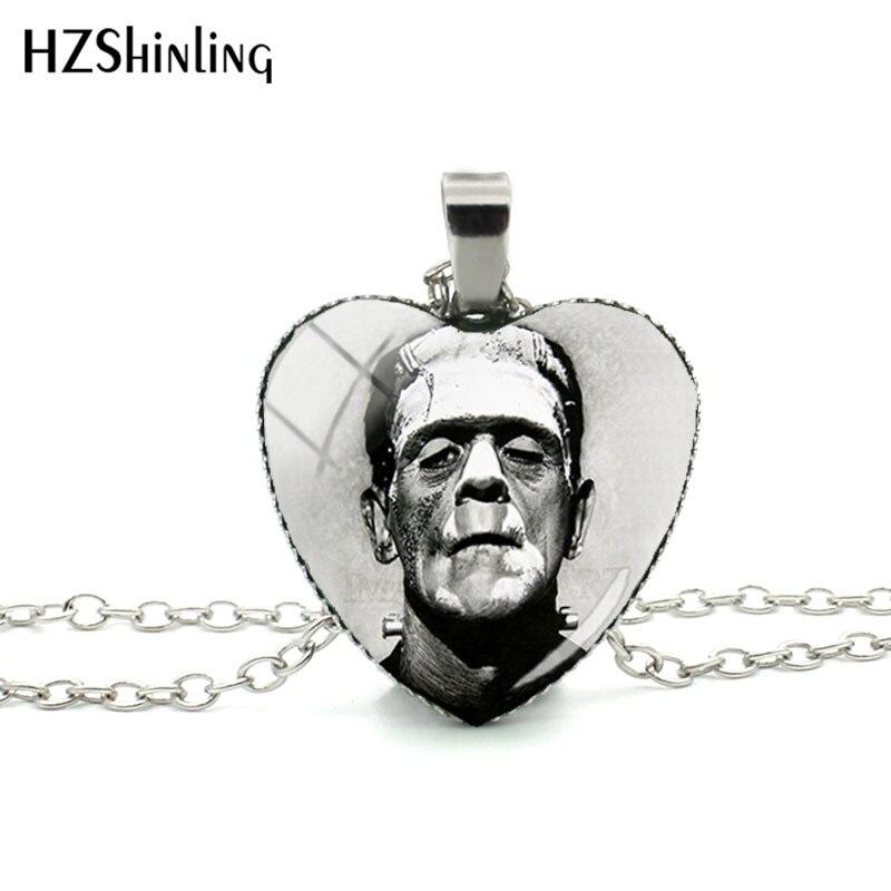 2018 Neue Traditionellen Frankenstein Herz Anhänger Paar Halskette Handgemachte Anhänger Silber Glas Dome Schmuck Hz3 Niedriger Preis