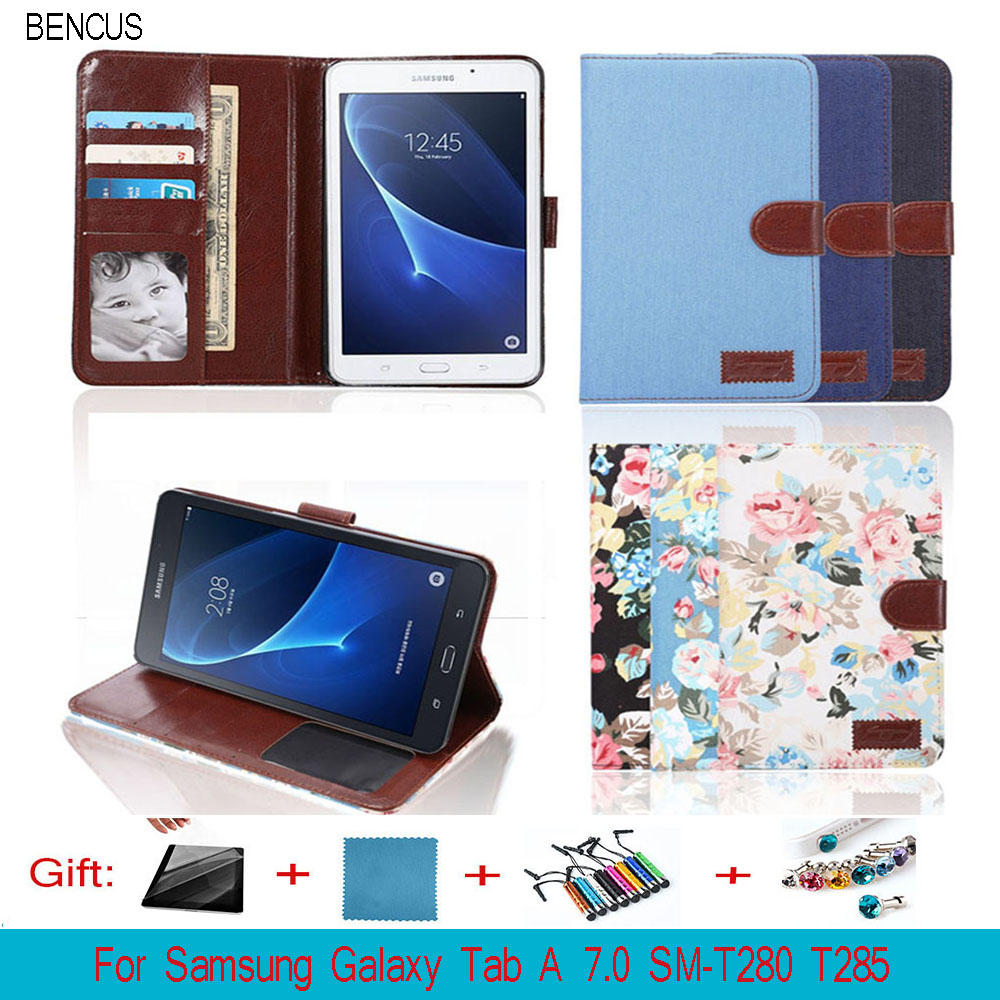 BENCUS Luxury funda Tab A 7.0 SM-T280 T285 smart cover slim stand leather case cover for samsung galaxy tab a 7.0 tablet