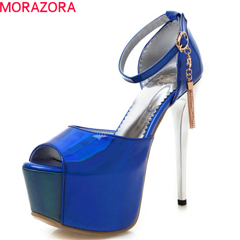 MORAZORA 2019 hot sale women sandals peep toe summer super high heels platform shoes woman sexy