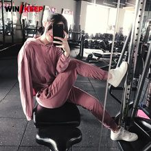 New Women Gym Training Set Long Sleeve Sexy Hollow Out Hoodie Sport Track Suit Yoga Jogging Tracksuit Sports Workout Clothing(China)
