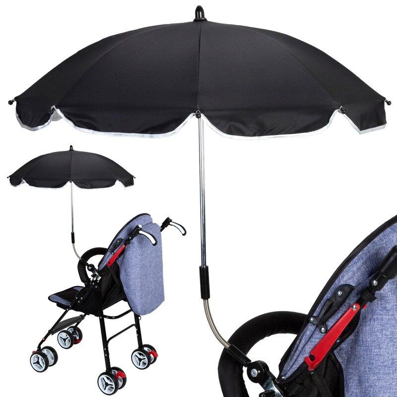 Protección UV a prueba de lluvia bebé cochecito cubierta paraguas se puede doblar libremente no se oxida Universal accesorios para cochecito
