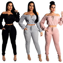 2 piece women Slash neck crop top legging Sexy Long hoodie female Bandage sweatshirt tracksuit