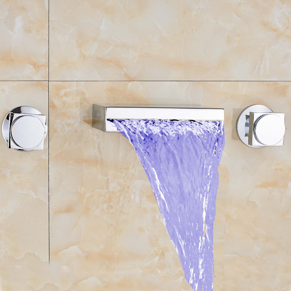 Modern Widespread Waterfall Bathroom LED Color Changing Tub Faucet Square Spout Dual Handles Mixer Tap Faucet polished chrome widespread waterfall spout bathroom tub faucet dual handles tap