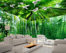 beibehang papel de parede 3d wallpaper Fresh bamboo landscape 3D stereo theme space background wall fashion seductive
