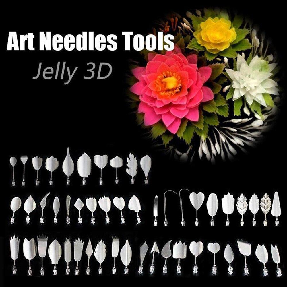 Cake Decorating Mold Needle Nozzle Tools 10 Gelatin Art Needle+1pc Needle Tube 3D Gelatin Jello Art Pudding Flower Bakeware Cake