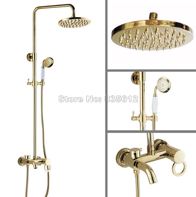 bad regen dusche wasserhahn set mit handheld duschkopf gold farbe messing wand einzigen. Black Bedroom Furniture Sets. Home Design Ideas