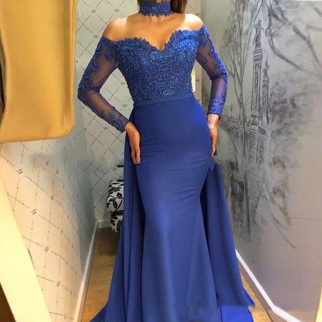 2019 saoudien arabe Royal bleu sirène robes de bal hors épaule manches longues robes de bal Vestidos de gala robe de soirée élégante - 2