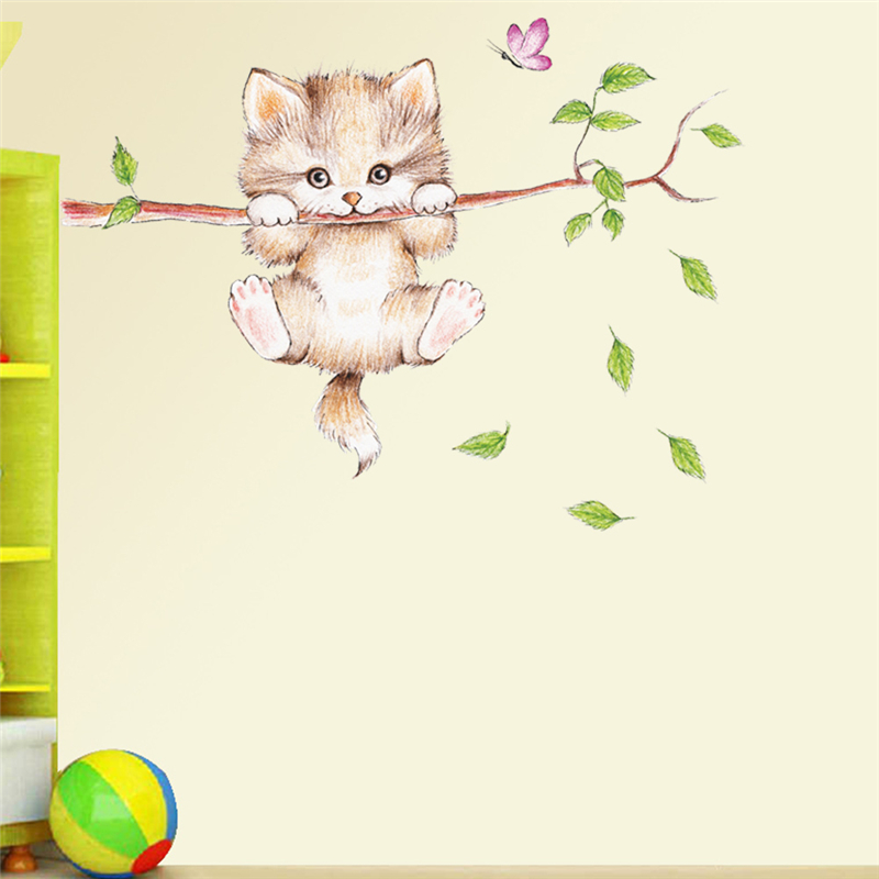 cat butterfly tree branch wall stickers living room bedroom accessories cartoon animal mural art DIY posters pvc wall decals in Wall Stickers from Home Garden