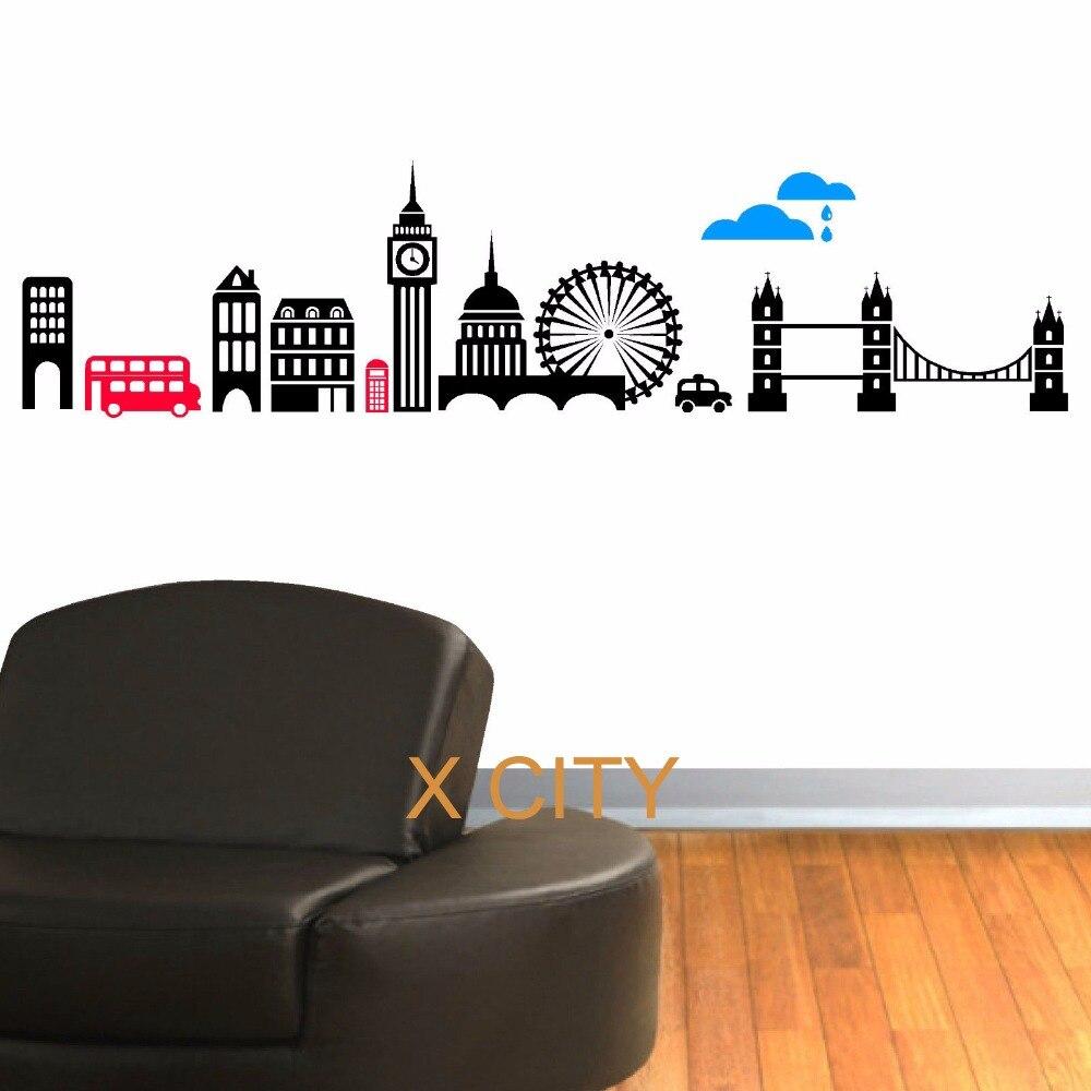 Londres horizon créatif paysage mur autocollant vinyle Art décalcomanie fenêtre pochoir pour enfants chambre décor Adesivo De Parede S M L