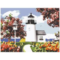 Lighthouse Flowers Frameless Pictures DIY Painting By Numbers Decoration Art Paintings For Living Room Wall By