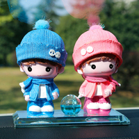 Lovely baby couple ornament car decorations Crystal car ornament Car perfume seat, can add perfume Car accessories