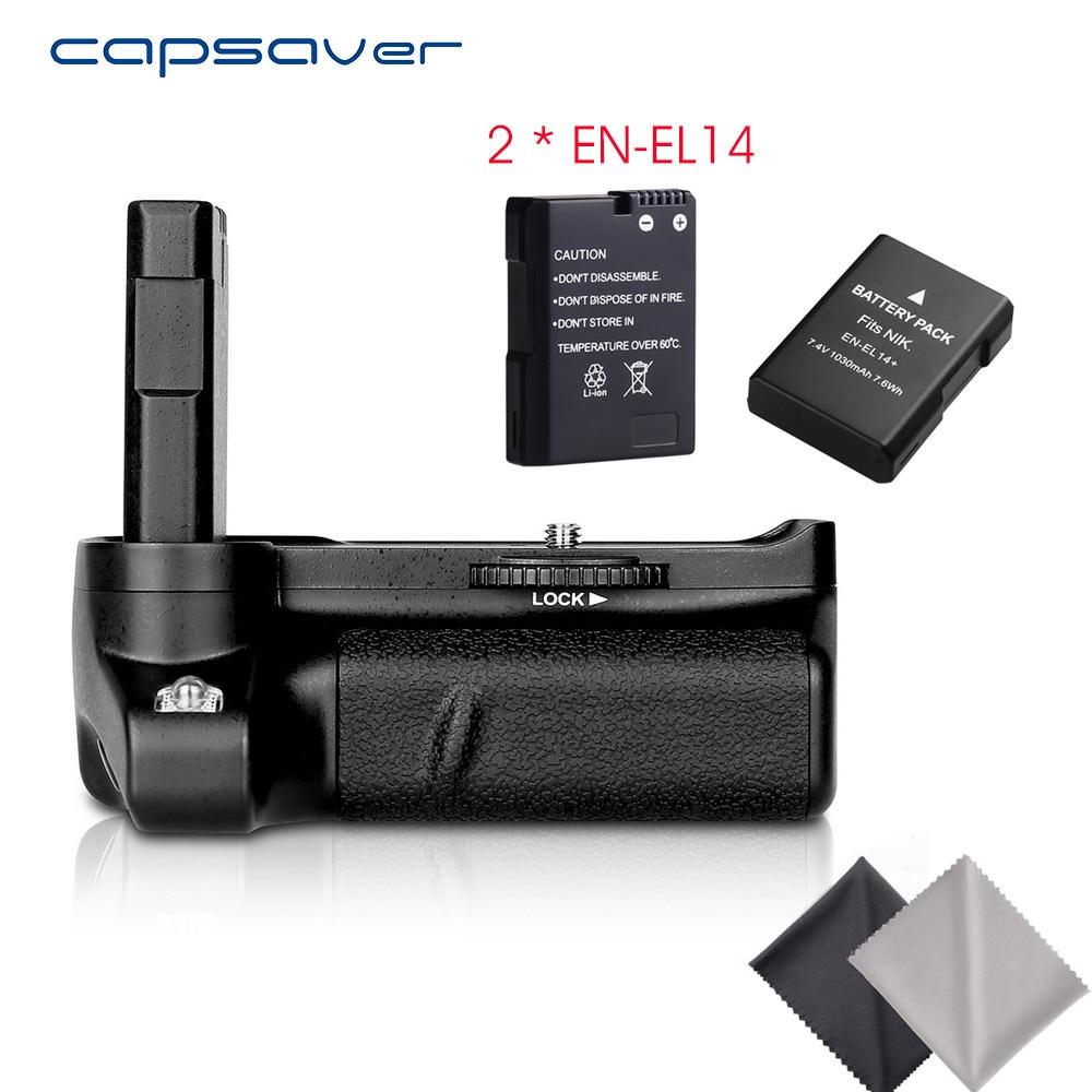 capsaver Vertical Battery Grip Holder with 2pcs EN EL14 Batteries for Nikon D3400 Camera Multi power