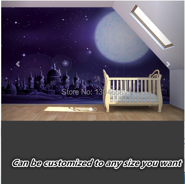Custom papel de parede infantil,Ancient Moonlit Fairytale 3d wallpaper for girls room children's room background wall silk cloth custom papel de parede infantil spiderman 3 d mural for bedroom of children room background wall silk cloth wallpaper