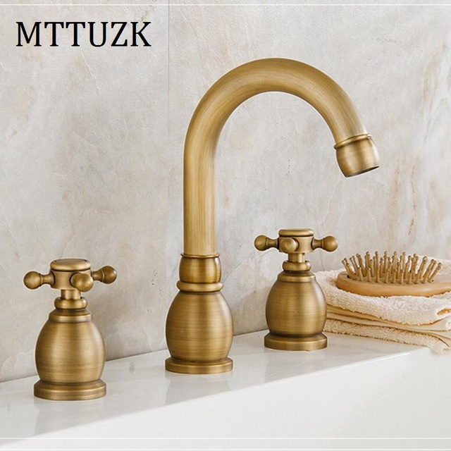 MTTUZK Antique Copper Bathroom Faucet For Hot And Cold Mixer Tap Sink Faucet  Double Handle 3