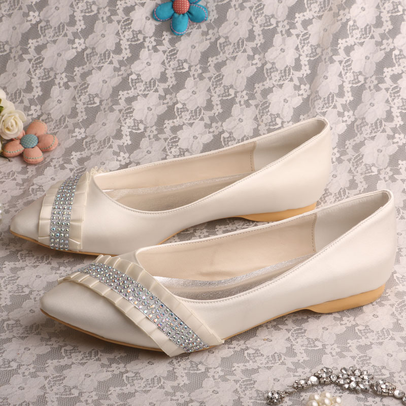 ФОТО Wedopus MW540 Ivory Satin Pointed Toe Ballet Flat Bridal Crystals Evening Shoes Wedding