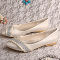 Wedopus MW540 Ivory Satin Pointed Toe Ballet Flat Bridal Crystals Evening Shoes Wedding