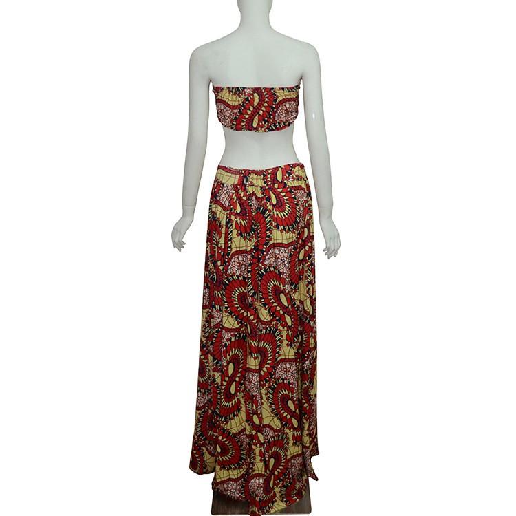 b0c608989c Summer African Style Dress Women Sleeveless Sexy 2 Piece Set Bandeau ...