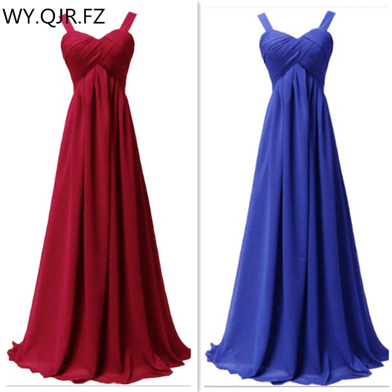 QNZL1089J#Spaghetti Straps wine red Chiffon lace up long   Bridesmaid     Dresses   new summer 2018 host bride married prom party   dress