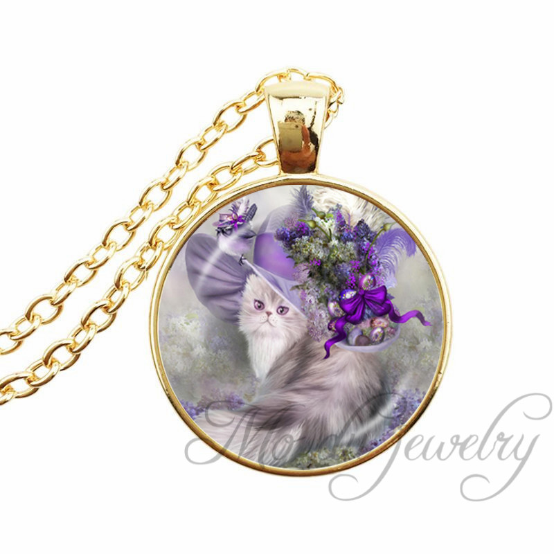 Vintage cat wear the hat glass cabochon pendant elegant for Cat in the hat jewelry