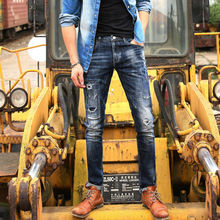 2017 new fashion Hole Straight Destroyed Jeans men Casual Slim Ripped Jeans Homme Retro Men's Trousers Denim High Quality Cotton