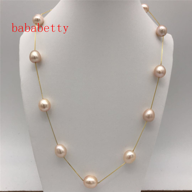 NEW Perfect  10-11MM South Sea pink natural pearls 925 sterling silver necklace 18