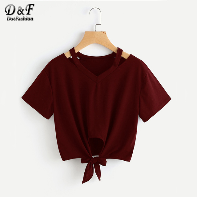 943145759b81 Dotfashion Cut Out V Neck T-shirts Bow Knot Front Tee Casual 2019 Women  Burgundy Summer Tops Fashion Short Sleeve Basic T-shirt