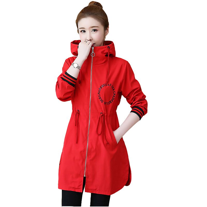 Fashion 2019 New Women   Trench   Coats Solid Loose Hooded Pocket Zipper Lightweight Windbreaker Outwear Female Casual Plus Size