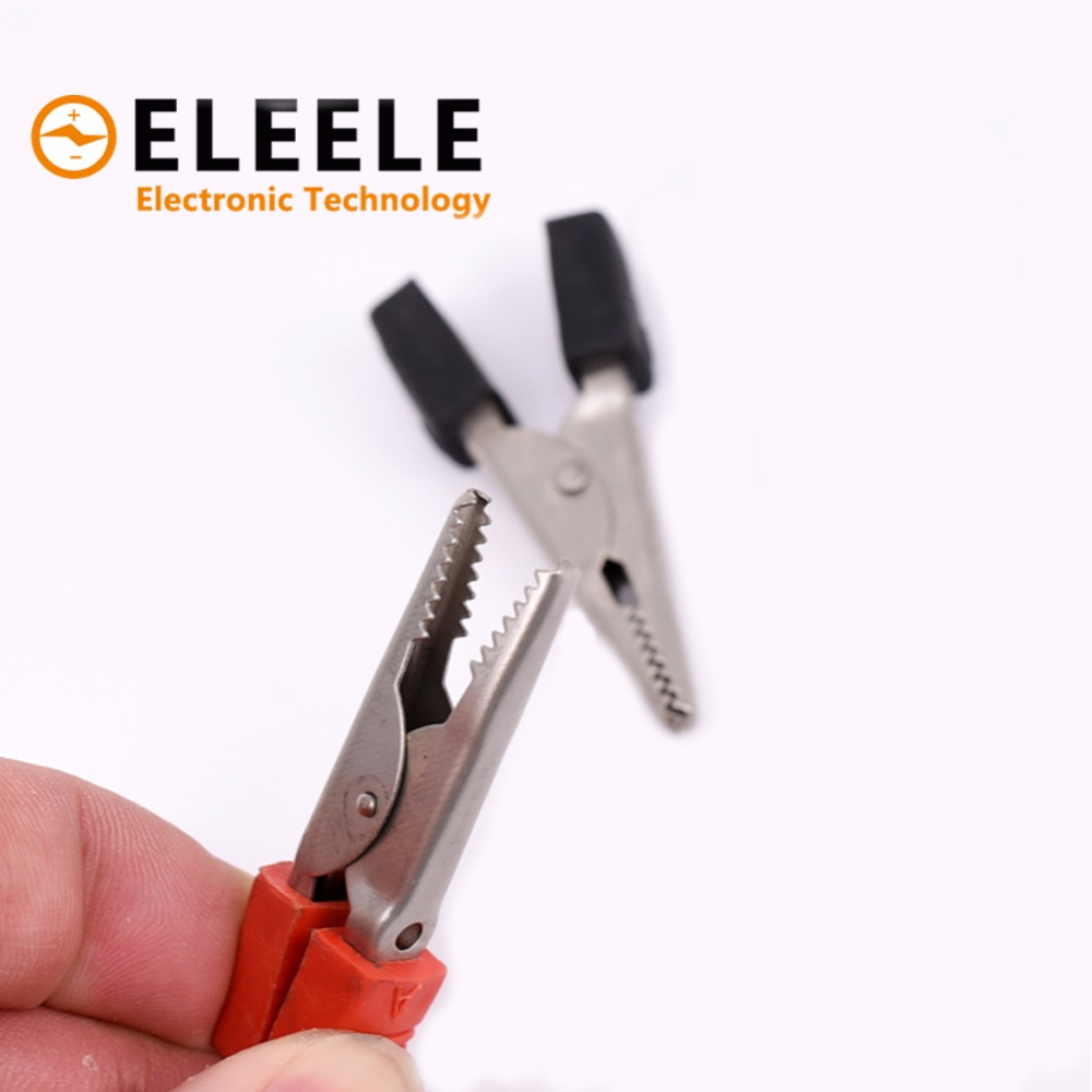 2pcs/lot Insulated Crocodile Clips Plastic Handle Cable Lead Testing Metal Alligator Clips Clamps 52mm Length PN35 red electrical cable alligator clips crocodile clamps test insulated clip 100pcs 34mm metal length