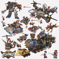 Создатель возраст паровой Танк Поезд Самолет Вертолет воздушный корабль строительные блоки наборы кирпичи модель детские игрушки Совмест